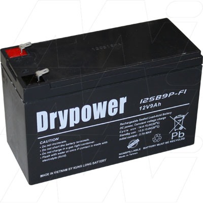 DRYPOWER 12V 9AH SEALED LEAD ACID BATTERY RECHARGEABLE