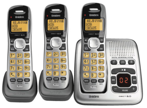 Uniden dect 1735+2 3 handsets cordless telephone+answer Machine