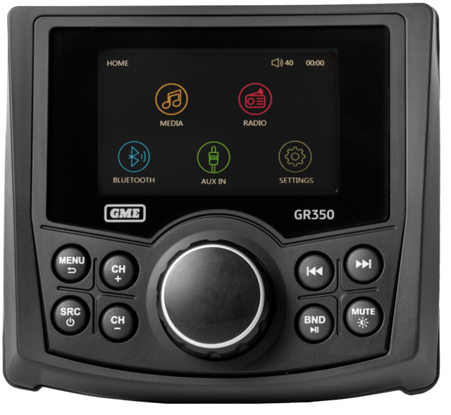 GME GR350BTB BLACK AM/FM COMPACT BLUETOOTH MARINE STEREO WITH US