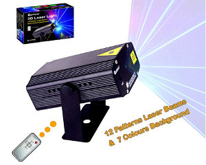 SANSAI 3D 12 PATTERN LASER BEAMS 7 COLOURS LIGHTS