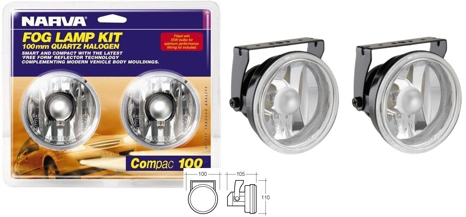 NARVA 71860 COMPACT FOG LIGHTS LAMP KIT BEAM 55W 4X4 12V