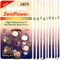 HEARING AID BATTERY A675 SIZE 675 10 PACK