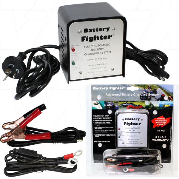 BATTERY FIGHTER 12V 1.25A AUTO 4 STEP STAGE ACID CHARGER BFA012