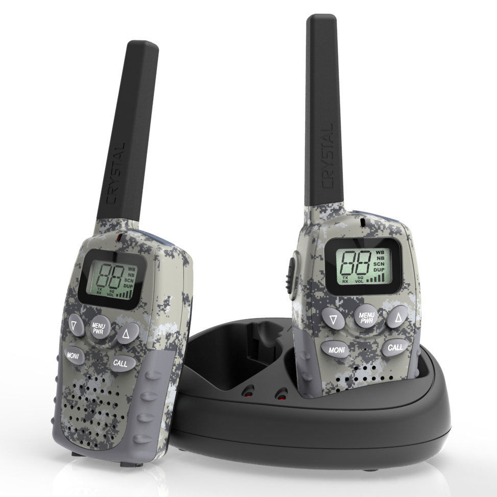 CRYSTAL 1 WATT DBH09R 80 CHANNEL UHF HANDHELD TWIN RADIOS CAMO