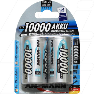 ANSMANN D SIZE RECHARGEABLE BATTERIES 10000MAH 2 PACK