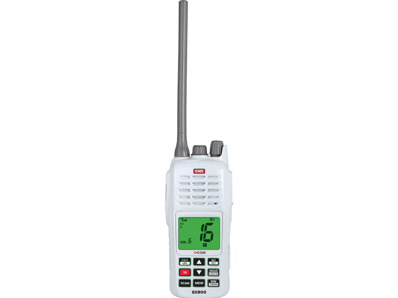 GME GX800W HANDHELD WHITE VHF FLOAT & FLASH RADIO IP67 5 WATTS