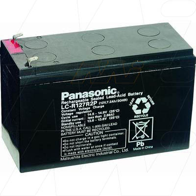 PANASONIC 12V 7.2A  LC-R127R2P LEAD ACID BATTERY