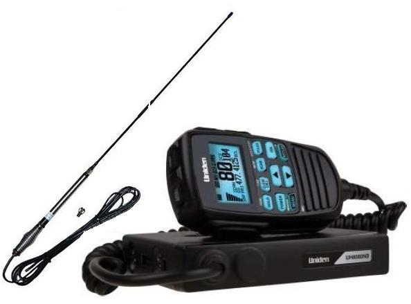 UNIDEN UH8080S 80 CHANNEL UHF+SCANNER+AT870 6.5DB BLK ANTENNA