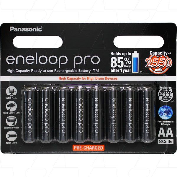 8 X PANASONIC ENELOOP PRO AA battery PACK MADE IN JAPAN
