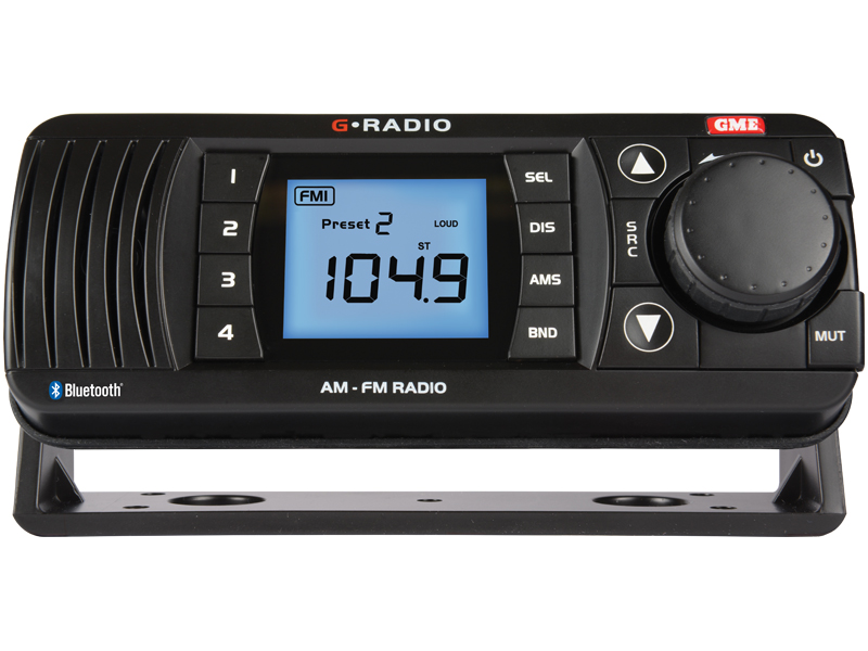 GME GR300BTB AM/FM MARINE RADIO WITH BLUETOOTH AUDIO BLACK