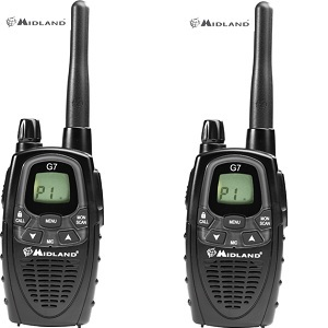 MIDLAND G7 XT-A 80 CHANNEL UHF 3 WATT HANDHELD RADIOS TWIN PACK