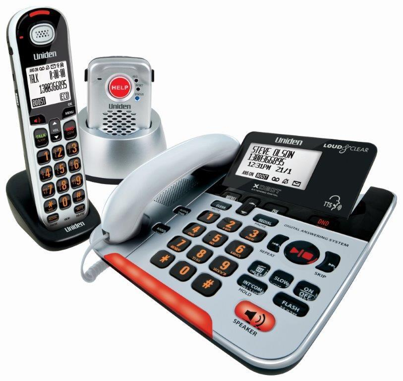 UNIDEN SSE37+1P VISUALLY IMPAIRED PHONE PENDANT CORDLESS CORDED