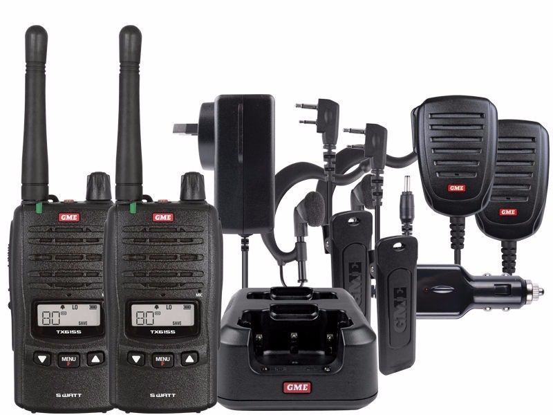 GME 2 X TX6155 UHF 5 WATT HANDHELD RADIO 80 CHANNEL